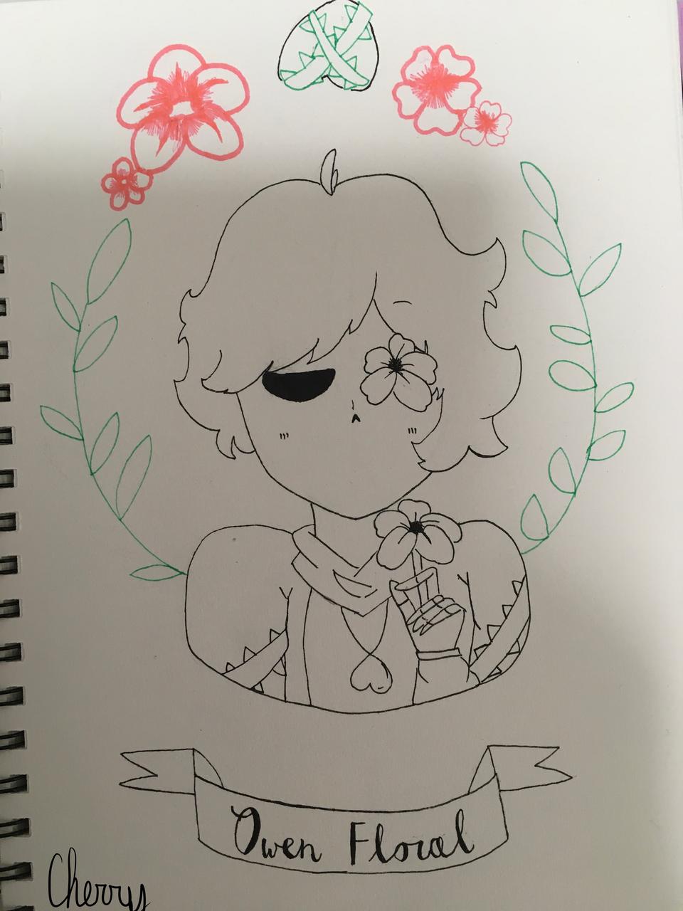 Owen floral doodle :) Illust of Cherry 🍒 (skid mode) oc doodle newoc medibangpaint