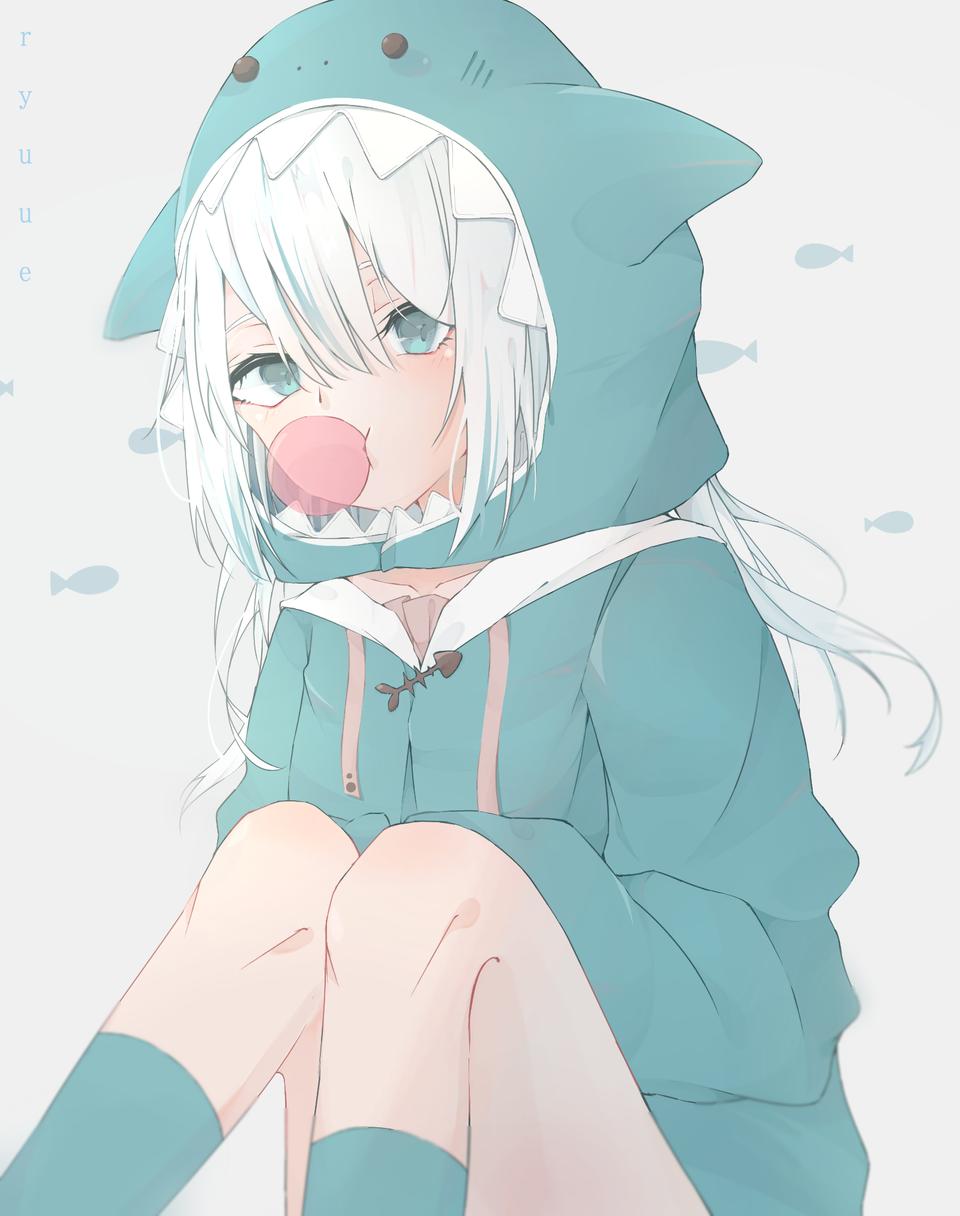 a Illust of ryu white_hair blueeyes cute GawrGura virtual_YouTuber shark pastel ホロライブEN hololive