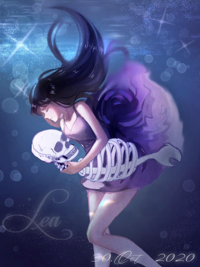 Water Illust of Lea original girl underwater art Skeleton