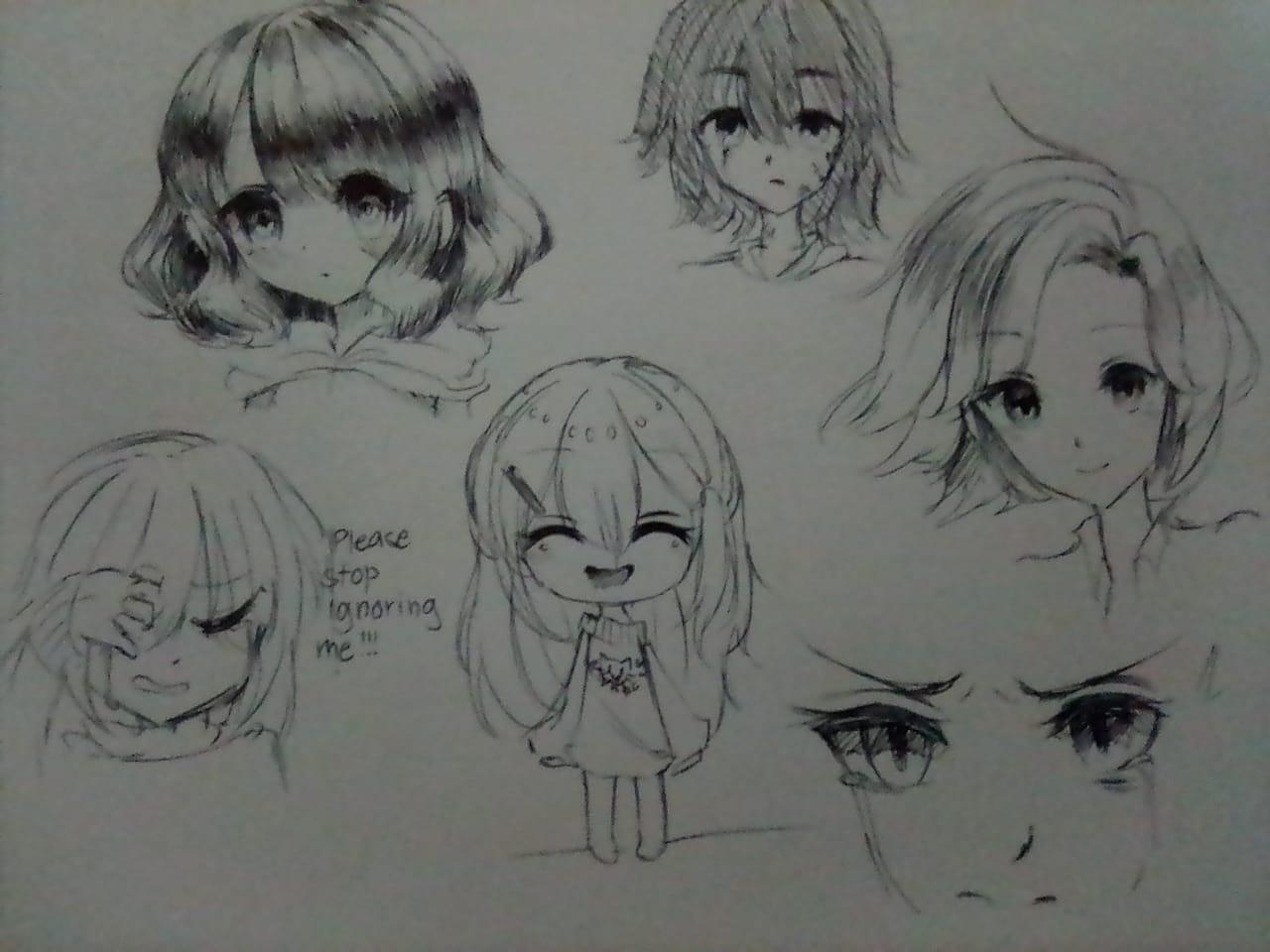 Sketches Illust of Izayoi Mikasa oc girl Mii-chan(Mikasa) Pen ink sketch IzayoiMikasa kawaii
