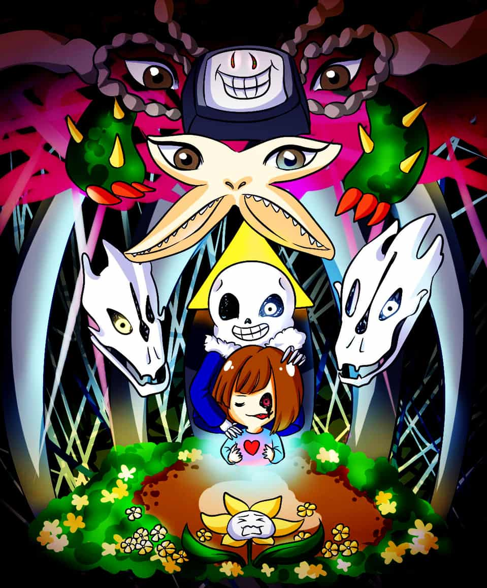 Bad End Illust of poppyrous Frisk undertale sanstheskeleton Flowey Sans floweytheflower Chara