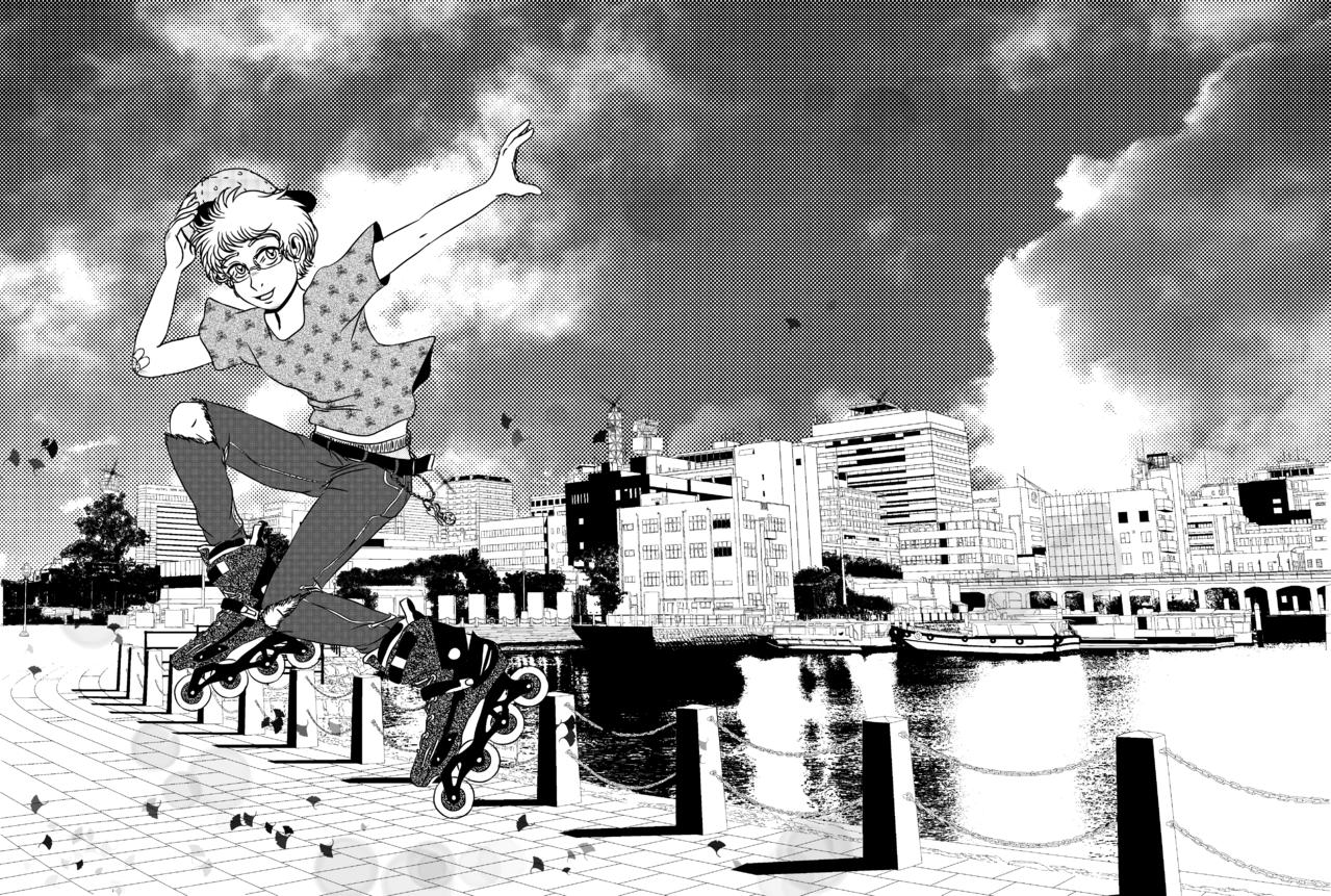 Patinar es mi pasión Illust of SantosPollos Background_Image_Contest BackgroundImageContest_Using_Division medibangpaint blackandwhite hoarbour mangastyle oc skate
