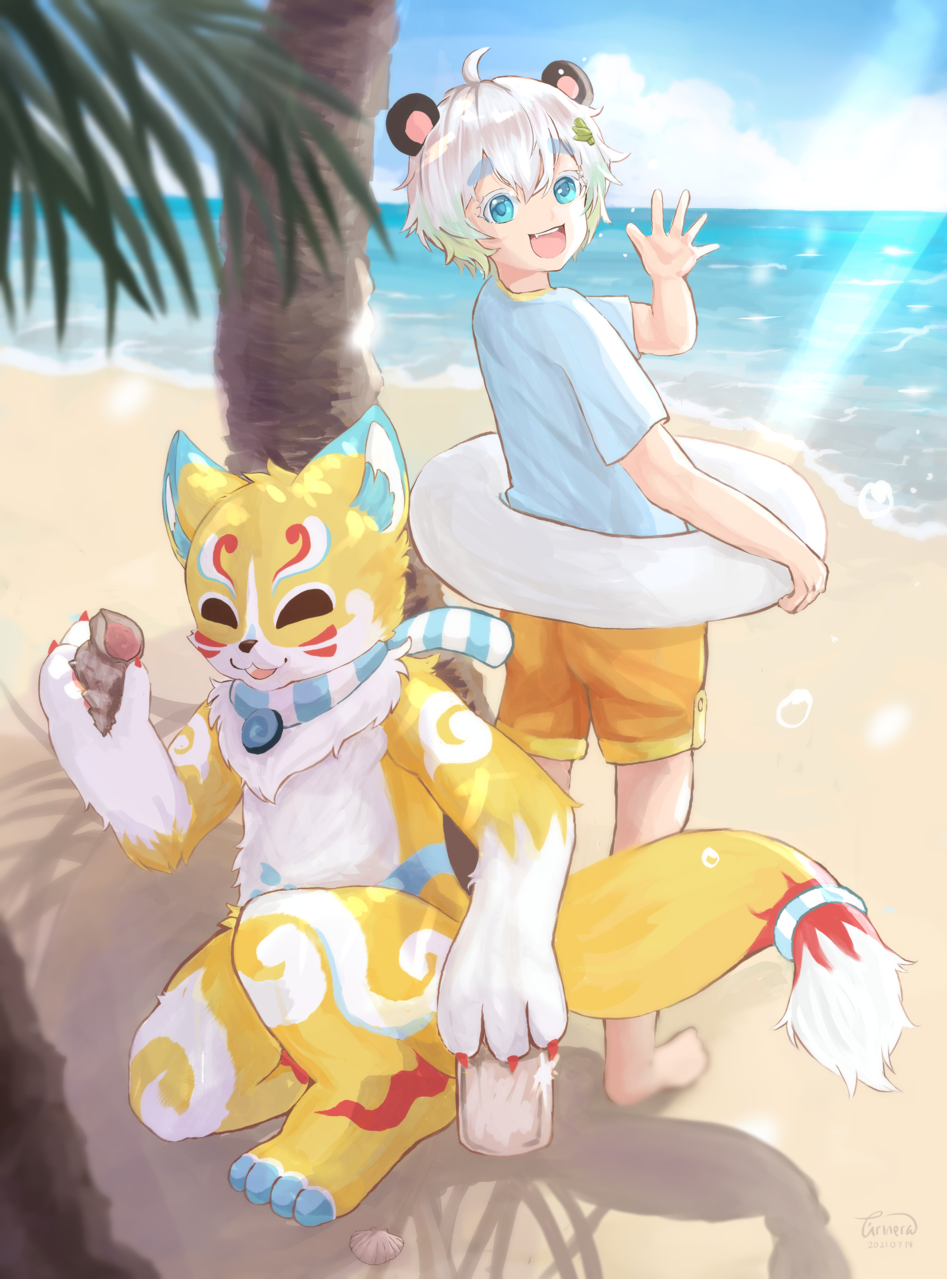 Summer time Illust of arinera medibangpaint art artcontest summer animestyle furry cute illustration animeart digitalpainting