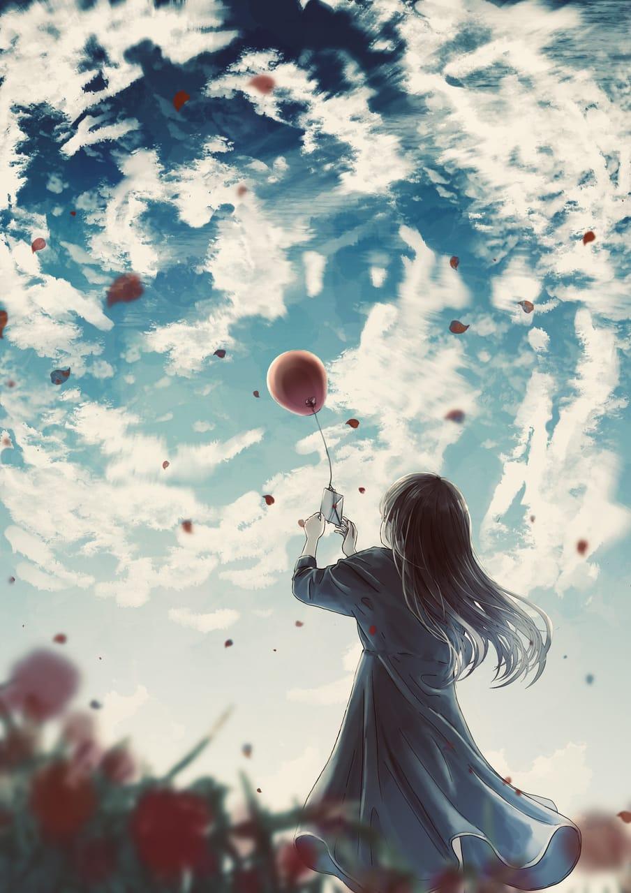 天国へのラブレター Illust of 熊谷のの skirt original girl Balloon 青空 blue 幻想風景 scenery background