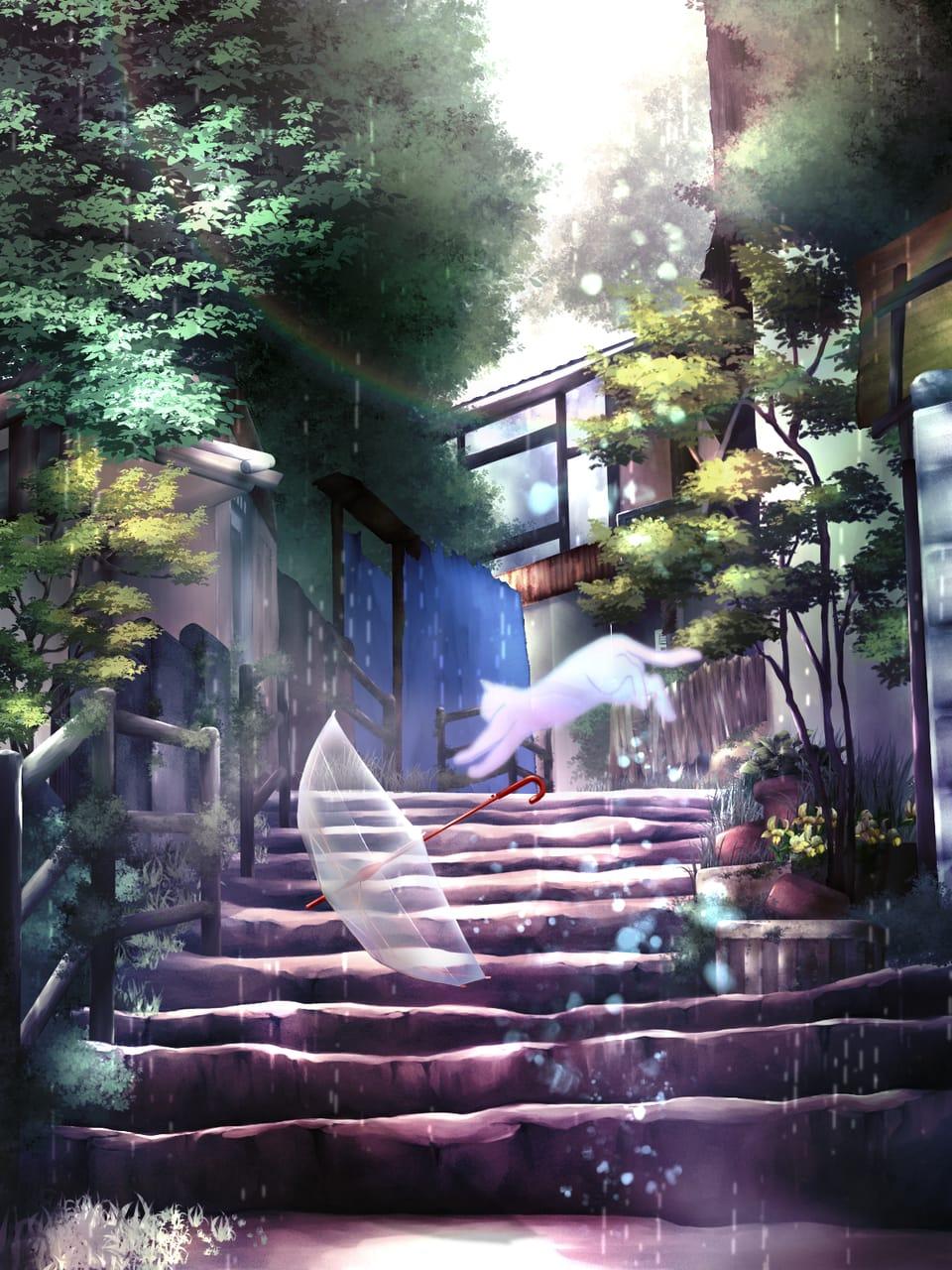 翠雨のうたかた Illust of ゆきとも rain cat umbrella 幽霊 雨の降る日