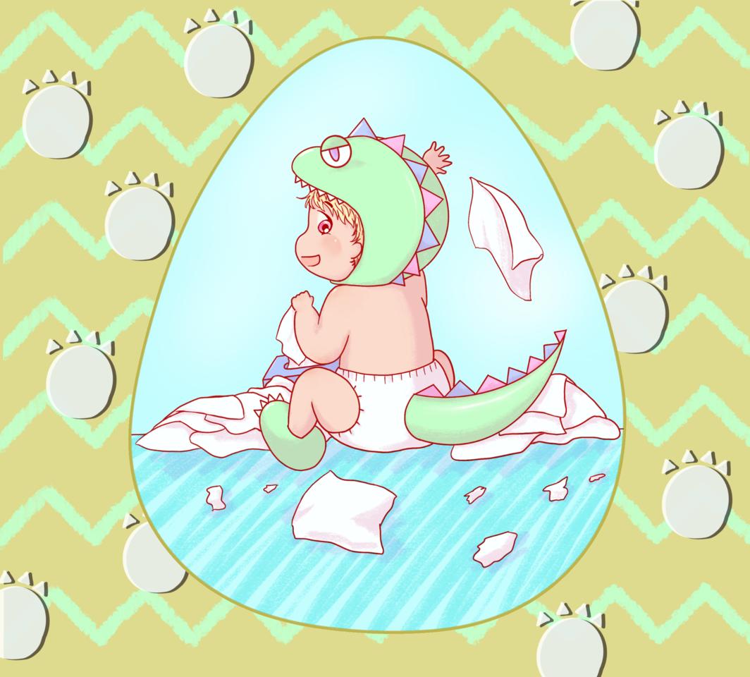 ちっちゃな怪獣 Illust of chiwo March2021_Creature oc 恐竜 にやり ティッシュ 怪獣 オムツ baby