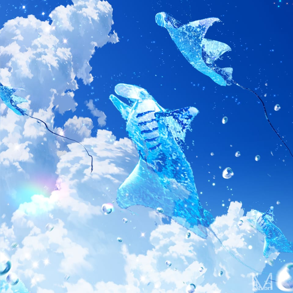 マンタの宅急便 Illust of まころん☆ BLUEHUNTER_ArtContest BLUEHUNTER-FutureVessels_and_TransportCategory illustration イラスト好きな人と繋がりたい summer clouds oc art sky scenery background anime