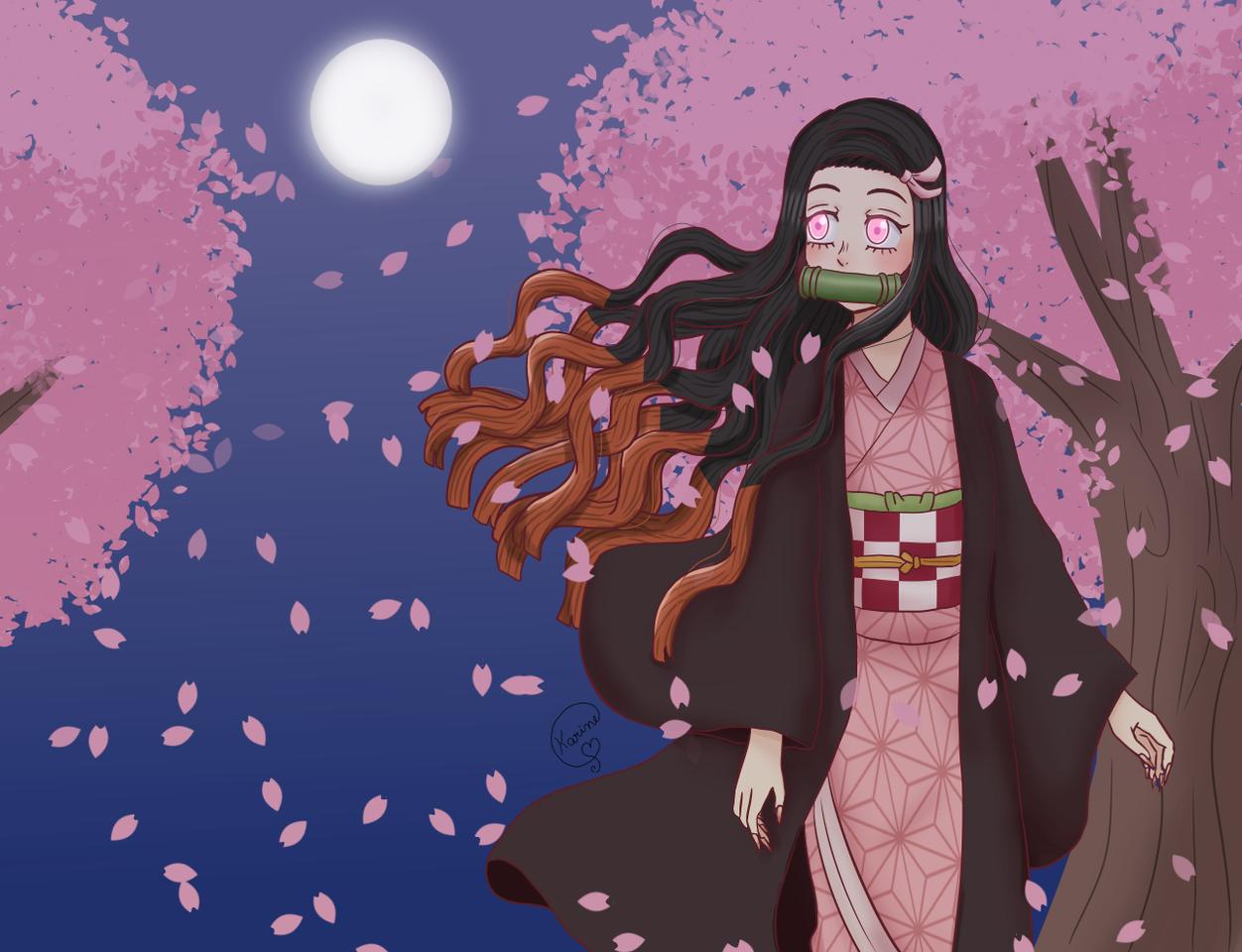 ༻✦ Nezuko and the cherry trees ✦༺ Illust of KemyChan DemonSlayerFanartContest KamadoNezuko animefanart nezukokny KimetsunoYaiba knynezuko