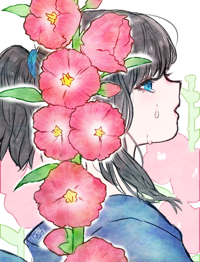 梅雨入り Illust of nora ponytail girl 横顔 flower medibangpaint 黒髪 kimono tears original