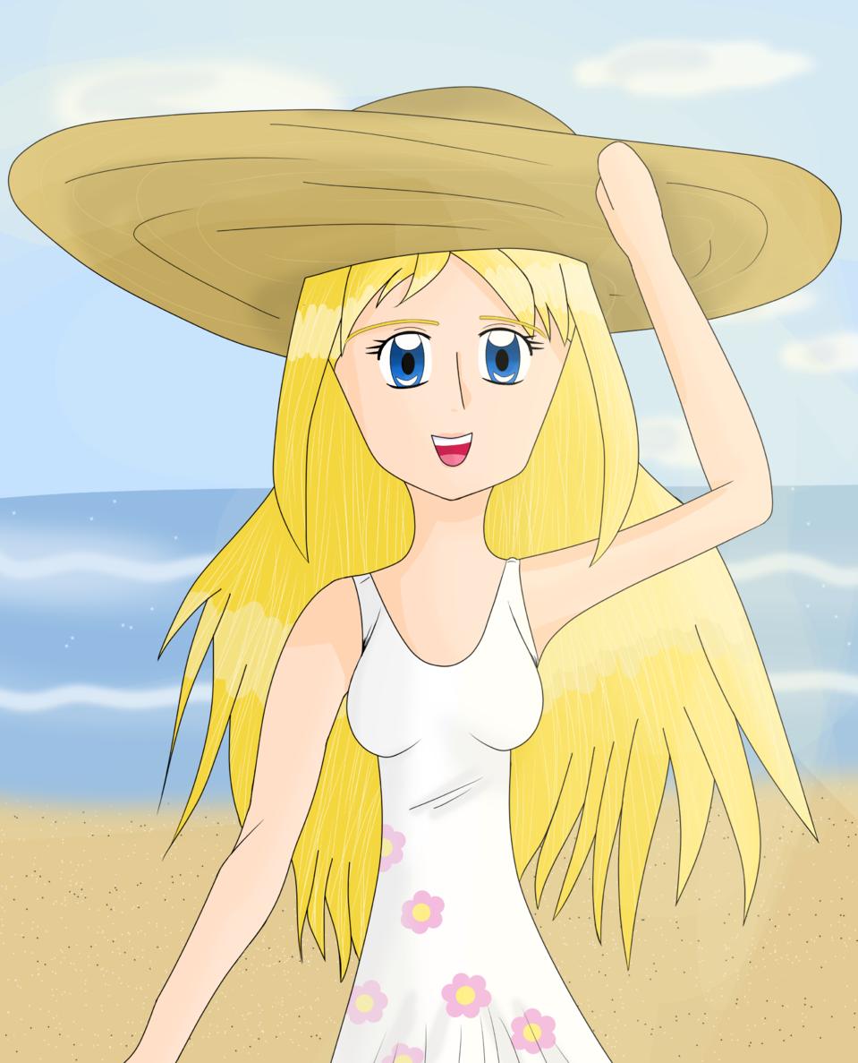 Beach - By Drew Illust of ♦𝔻𝕣𝕖𝕨_𝔸𝕣𝕥𝕤♦ character girl Drew_Arts chica oc anime day beach