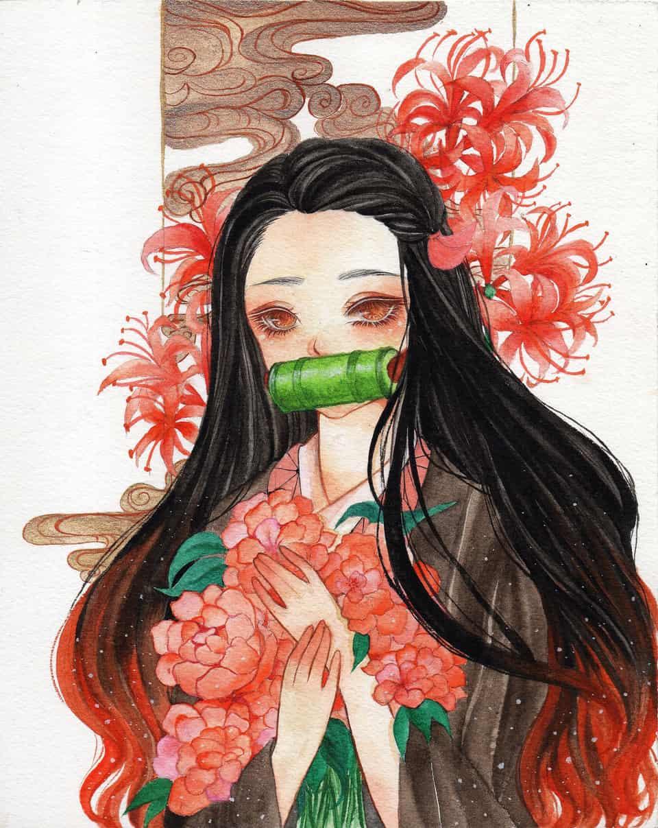 My Kamado Nezuko Fanart 😊 Illust of nesemoponumeji DemonSlayerFanartContest