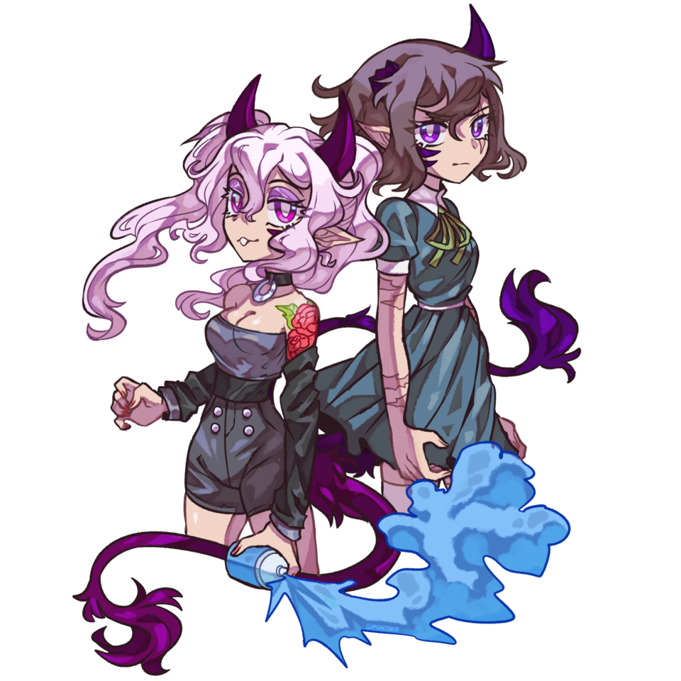 twinz Illust of pontiikii horn demon demonoc oc girl originalart