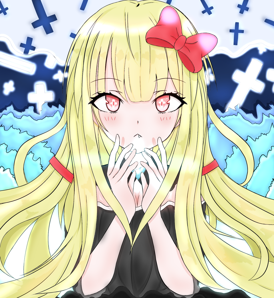 When I woke up after I died, there was a girl Illust of 츠키시로(月白) medibangpaint original girl vampire illustration 십자가 oc