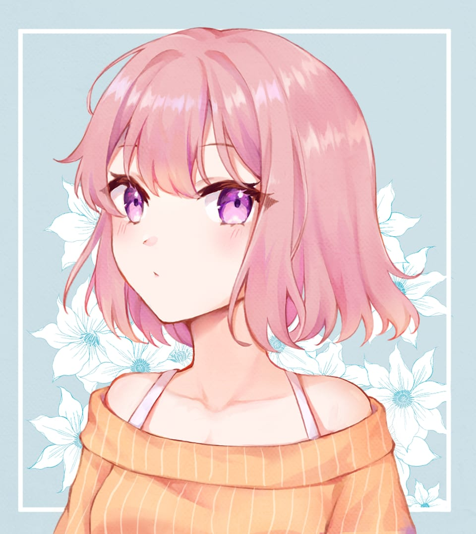 Illust of Eating April2021_Flower original girl pinkhair pink