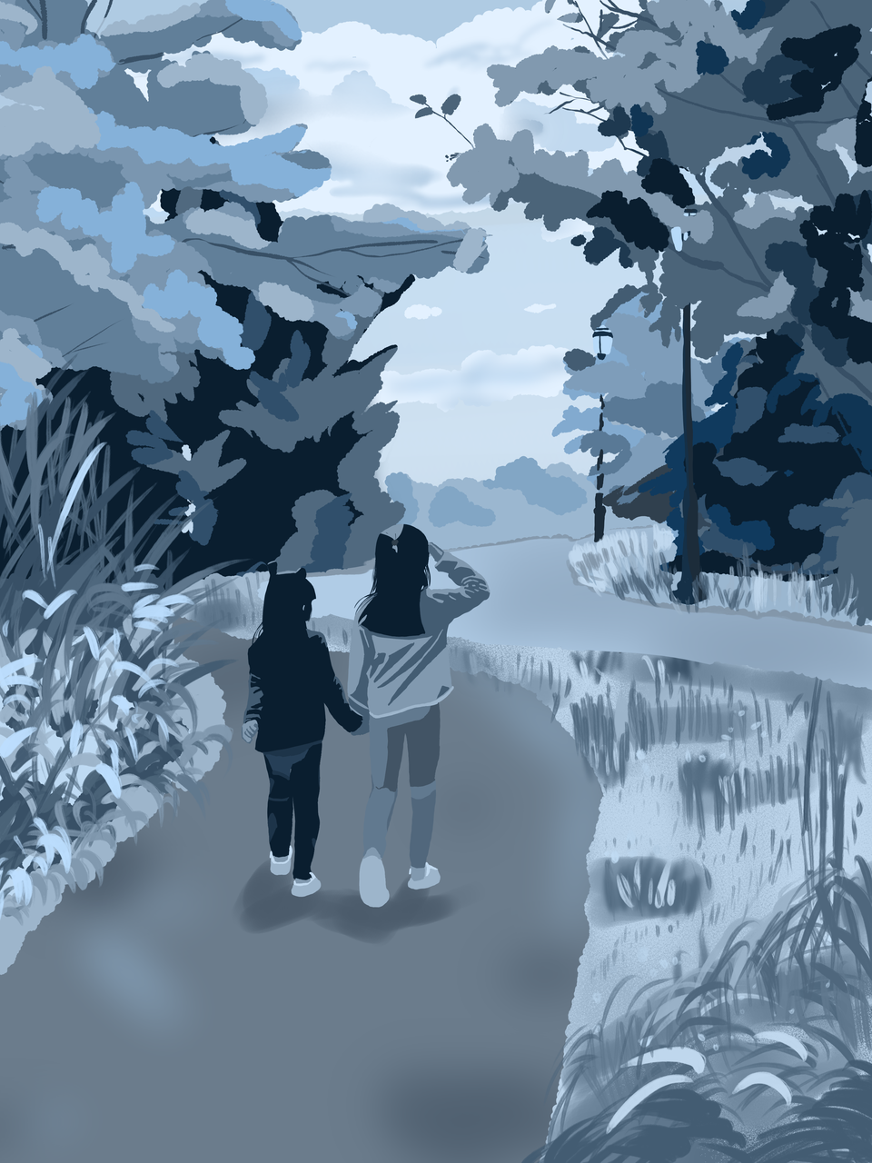 Monochrome - sisters Illust of Miss_Little_Orange_ May2021_Monochrome doodle blue monochrome illustration