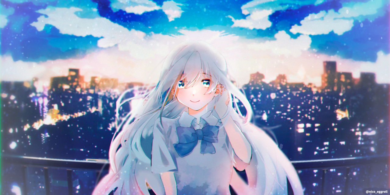 summer blue Illust of eggroll☆ illustration girl original summer