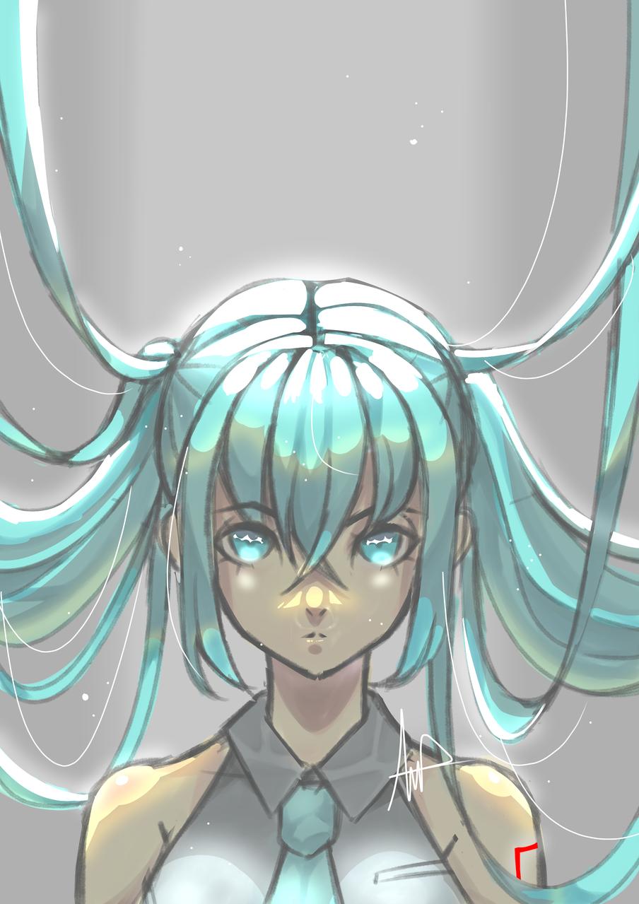 Hatsune Miku Illust of DonutAddic medibangpaint light hatsunemiku animegirl green lighting gray
