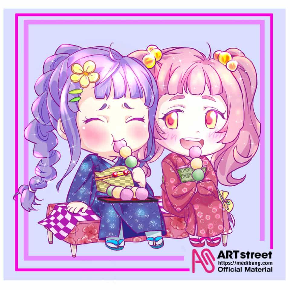 お団子姉妹 Illust of 鬼餅 tracedrawing2 pastel kimono Japanese_style すあま 団子 oc twin_ponytails Trace&Draw【Official】 yukata
