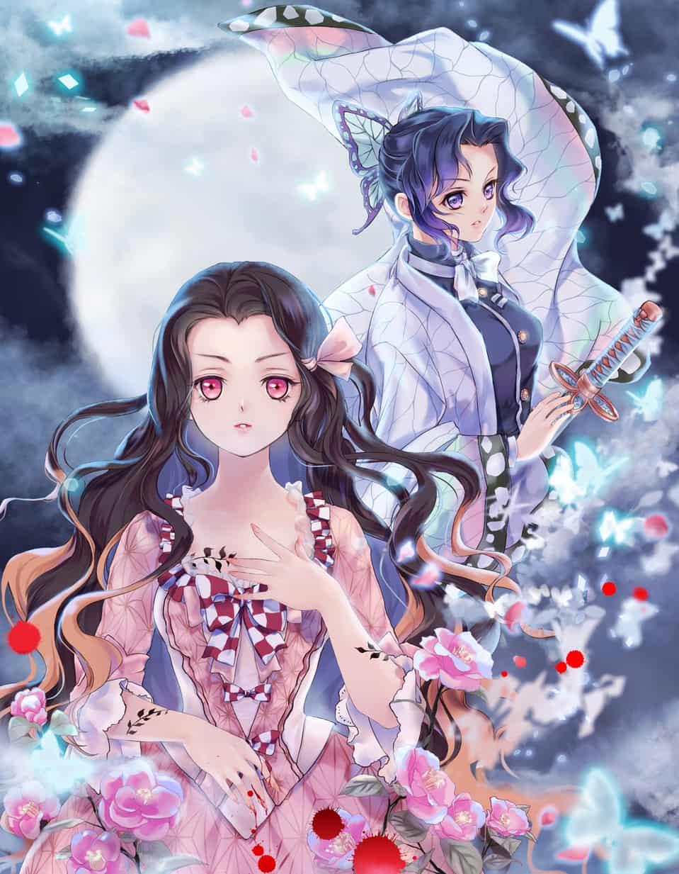 月下夜想 Illust of Caesar KamadoNezuko vampire Digital2D KochouShinobu KimetsunoYaiba illustrantion Vampirehunter