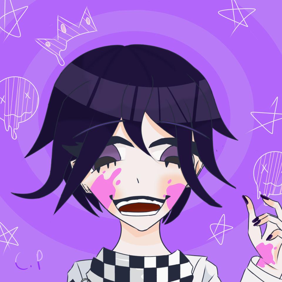 Koochie Illust of Creampuffu digital pink KokichiOuma Danganronpa blood medibangpaint Kokichi DanganronpaV3 purple