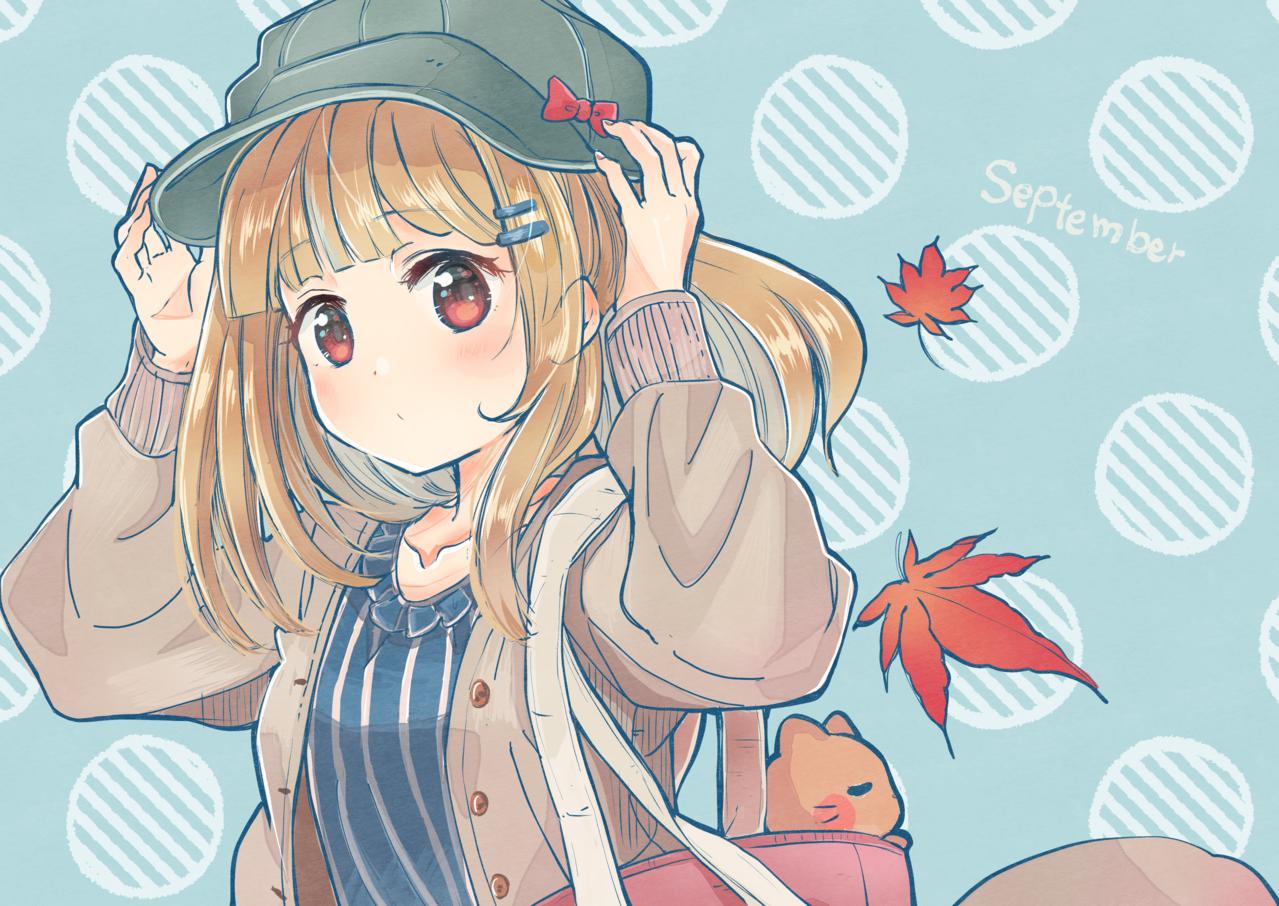 September  Illust of こがね はな 女の子イラスト girl キャスケット autumn