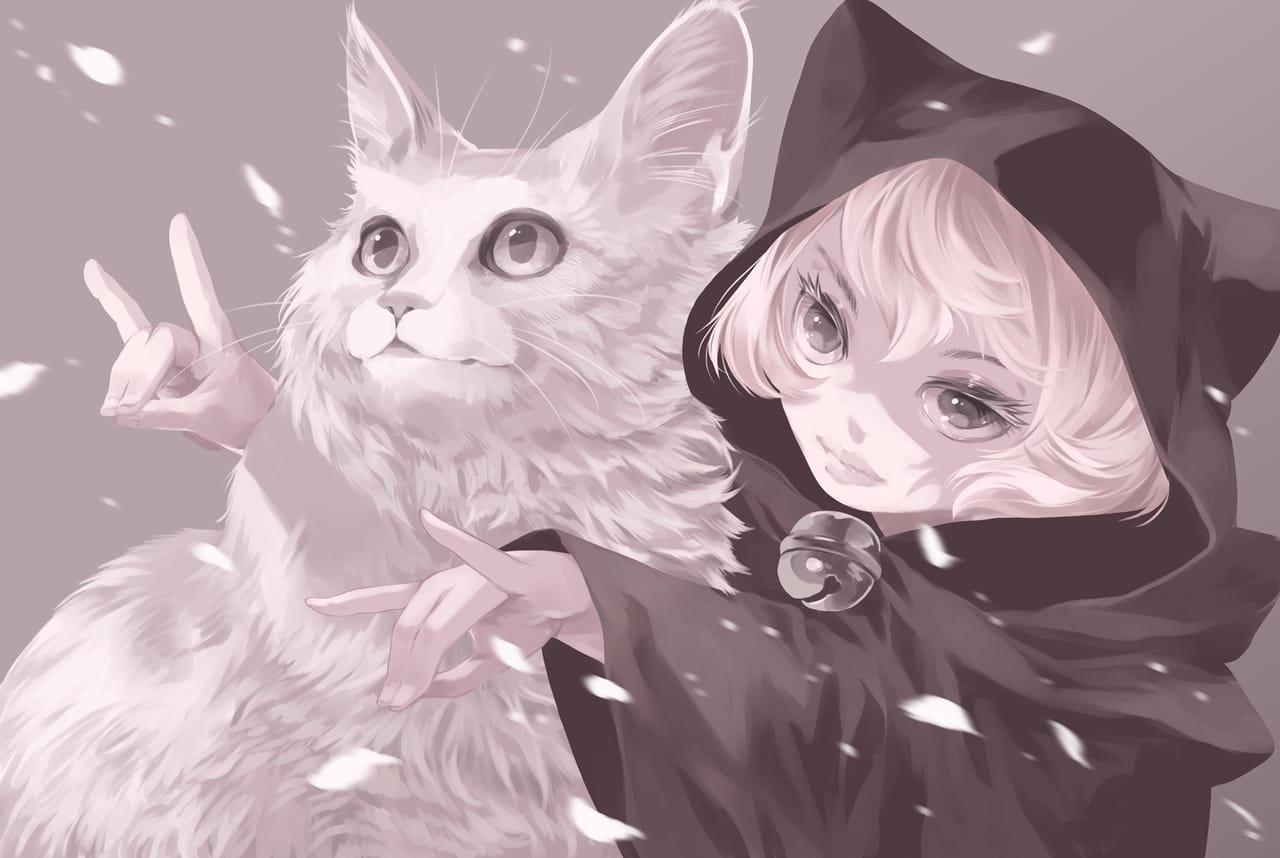 あの日の猫姉妹 Illust of 砂虫隼 May2021_Monochrome girl animal medibangpaint 生き物 cat oc original