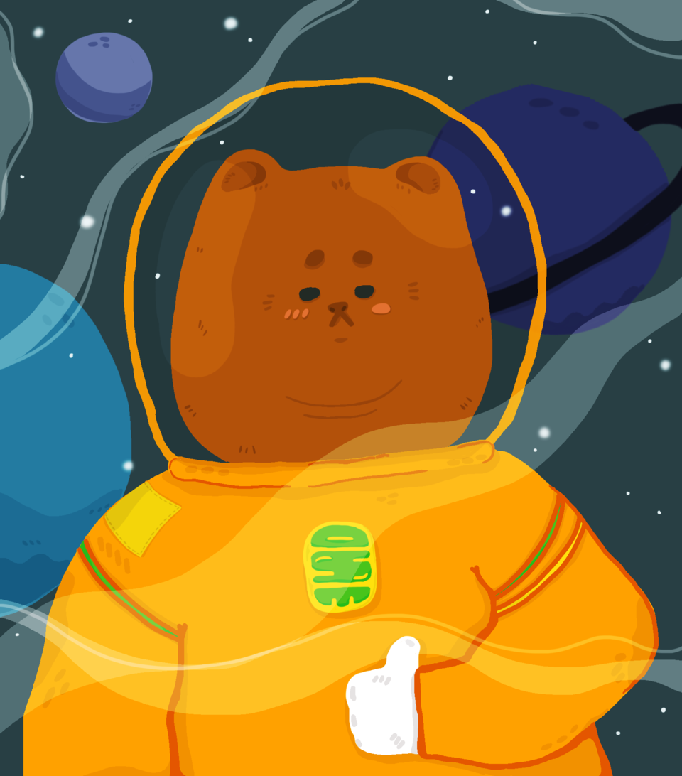 Bear in space Illust of JO. September2020_Contest:Furry original space illustrations bear doodle Artwork