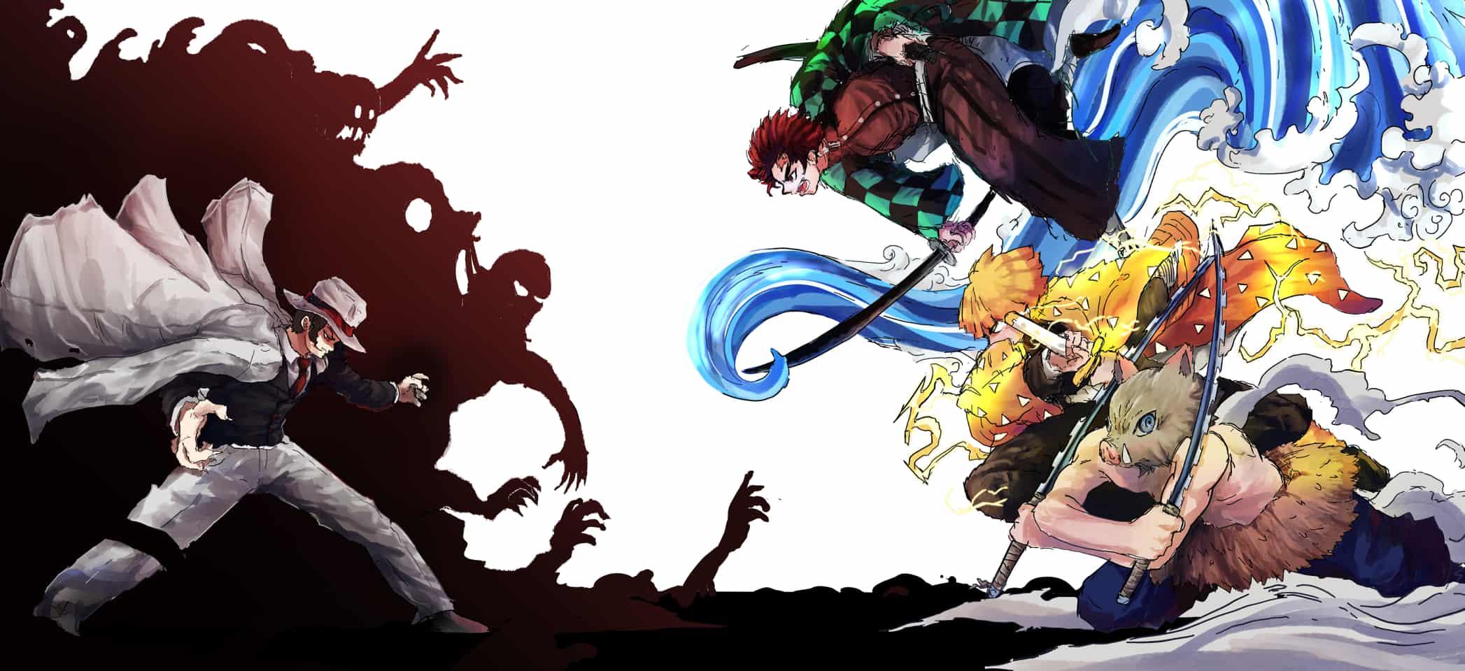 Decisive Battle!  Illust of Momogi battle DemonSlayerFanartContest AgatsumaZenitsu KibutsujiMuzan KamadoTanjirou KimetsunoYaiba HashibiraInosuke