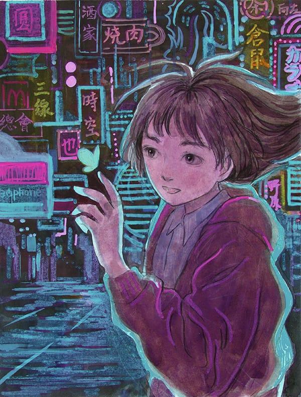 I found a butterfly Illust of yeyuan November2020_Contest:Cyberpunk girl cyberpunk