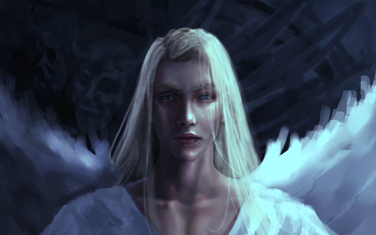 angel-light Illust of CHI-NAI January2021_Contest:OC original angel eyes wings illustration handsome man