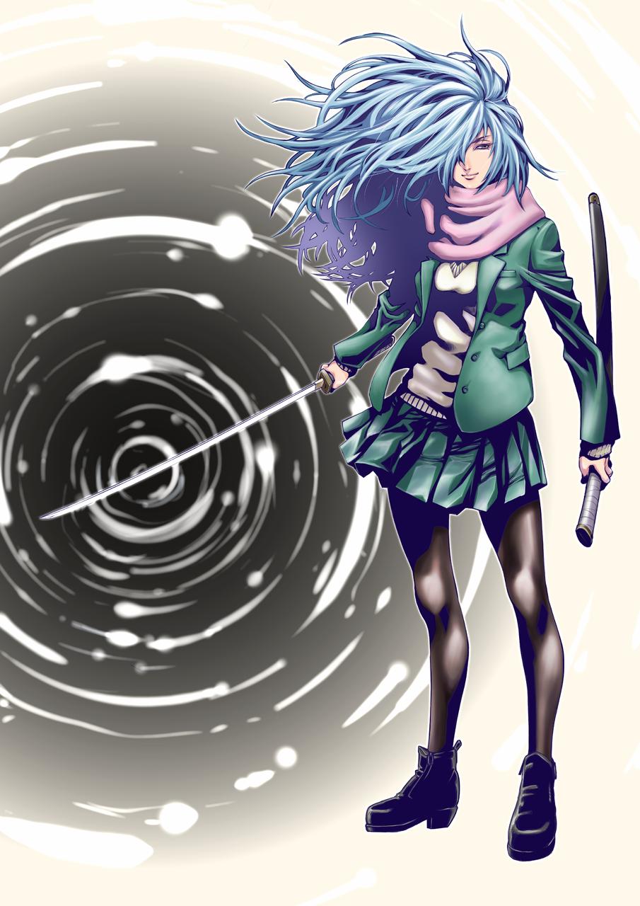 真依(まい) Illust of かずまる January2021_Contest:OC medibangpaint 刀 girl uniform longhair