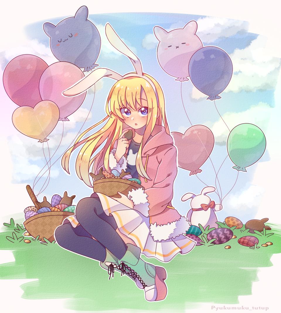 🐰「Happy Easter」🐰 Illust of 🐰『ナマコブシ』🐰 March.2020Contest:Easter anime girl easter oc cute rabbit pastel medibangpaint