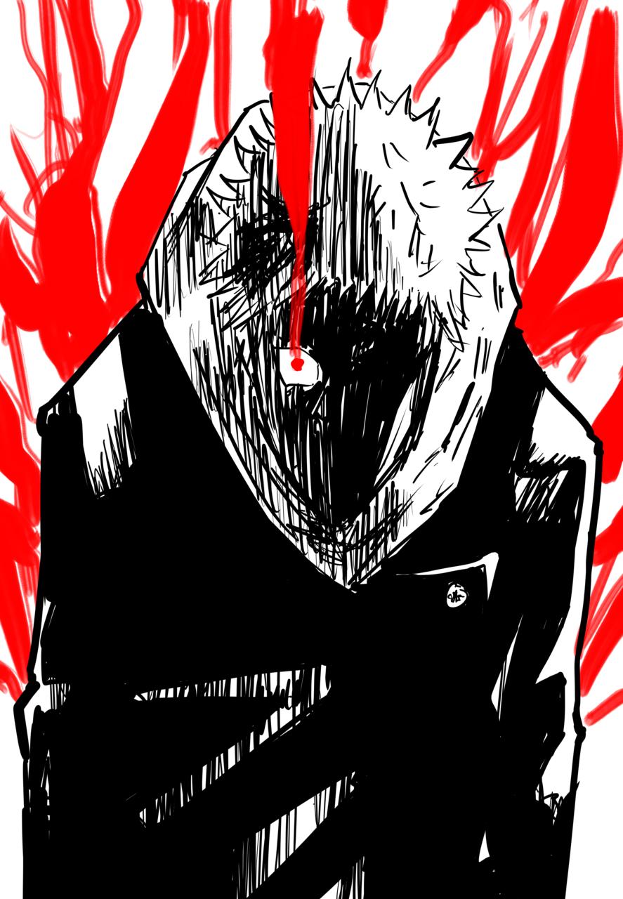 虎杖悠仁 (Yuuji Itadori from Jujutsu Kaisen) Illust of HINATA JujutsuKaisenFanartContest manga mangaka ShonenJump red JujutsuKaisen color boy Yuji_Itadori blackandwhite