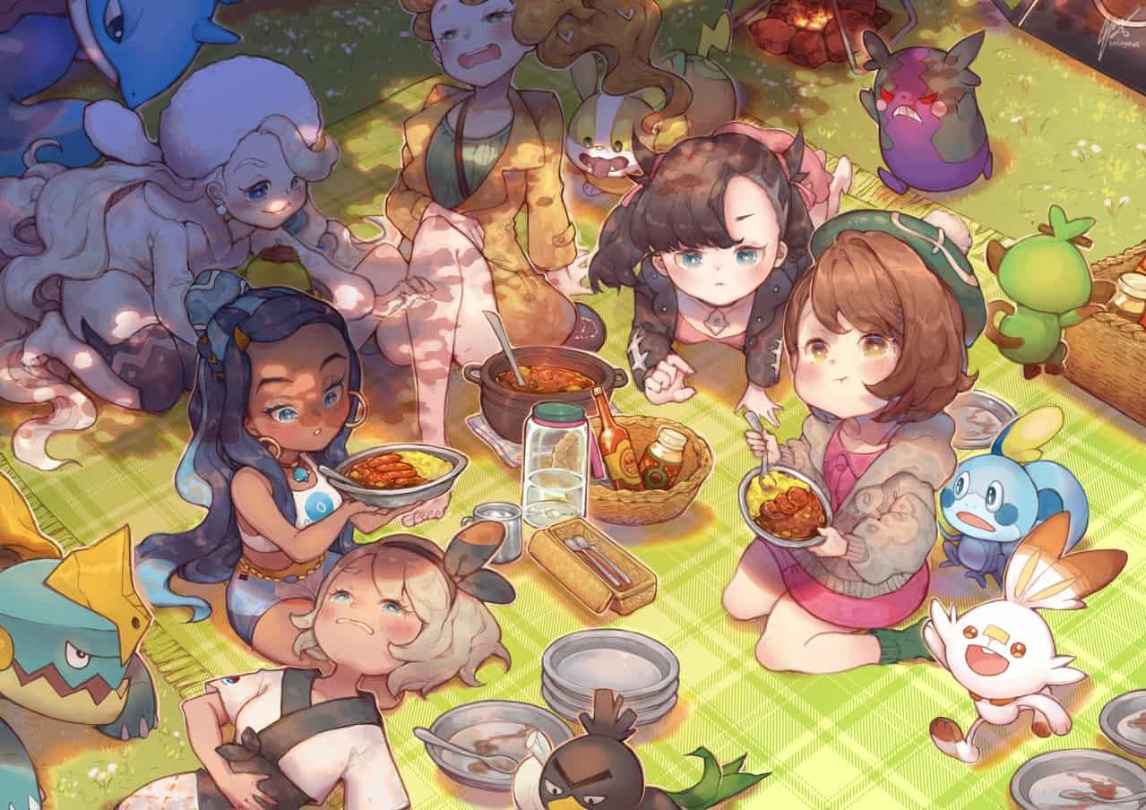 Picnic Day Illust of sonnya_ws Gloria サイトウ(ポケモン) pokemon マリィ(ポケモン) nessa bea Marnie PokémonSwordandShield Scorbunny Sobble