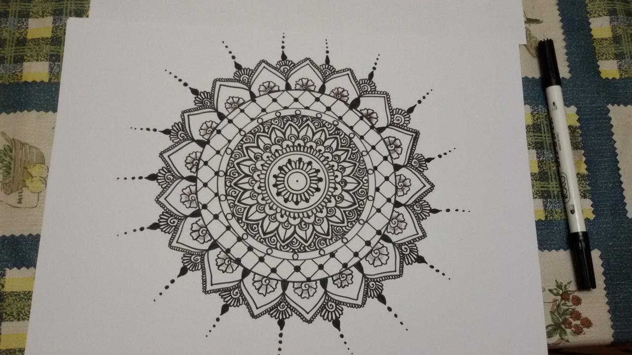 Mandala On Plain White Paper With Black Marker Afnan Binte