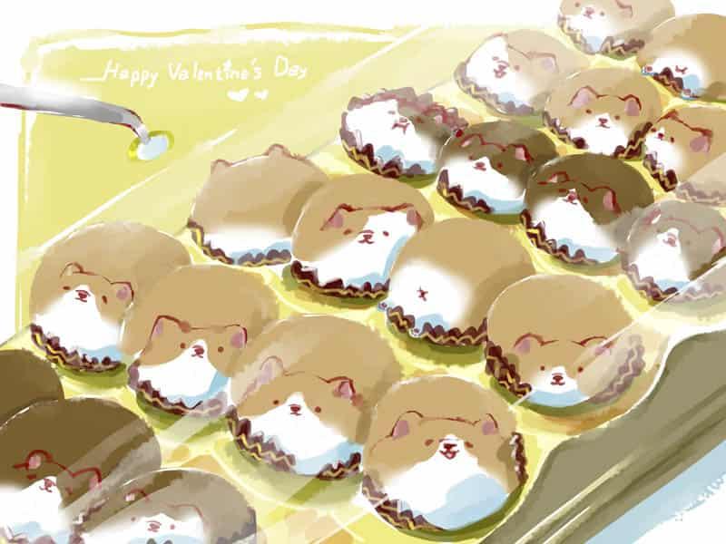コーギーがチョコレートになり済まします。。。 Illust of Aries Feb2020:VDAY original dog コーギー 巧克力 ペット puppydog corgi