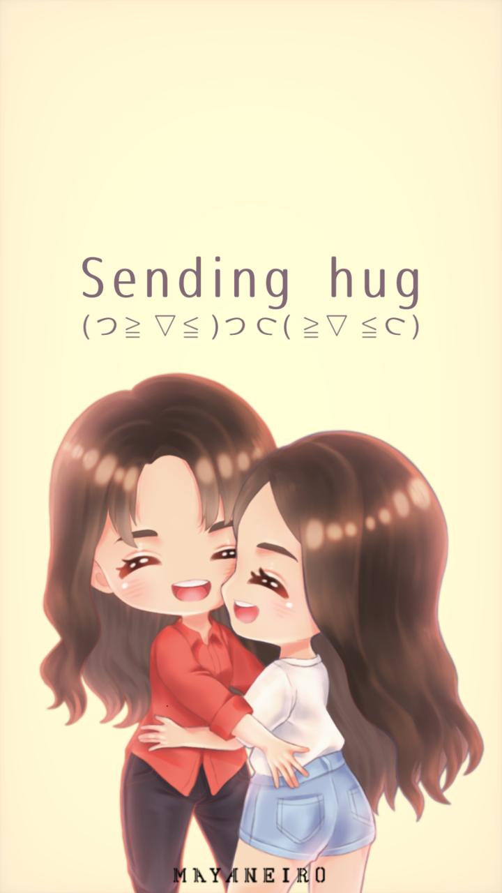 Sending Hug Illust of Mayaneiro friend kawaii chibi chibiart friendship cute hug persona