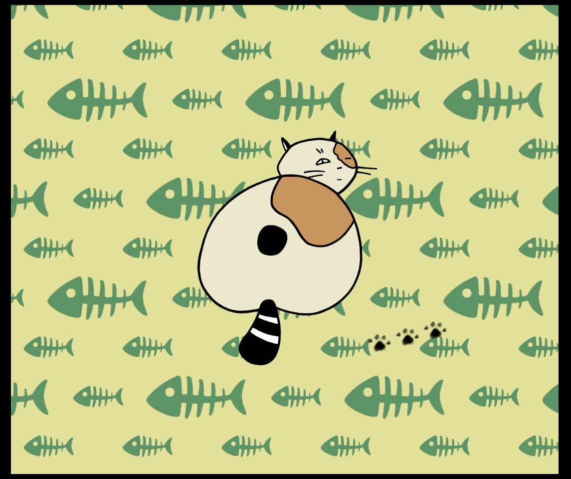 Calico Panic Illust of CopperNeon MaskDesignContest anime Skeleton animal green cartoon cute cat fish kawaii yellow