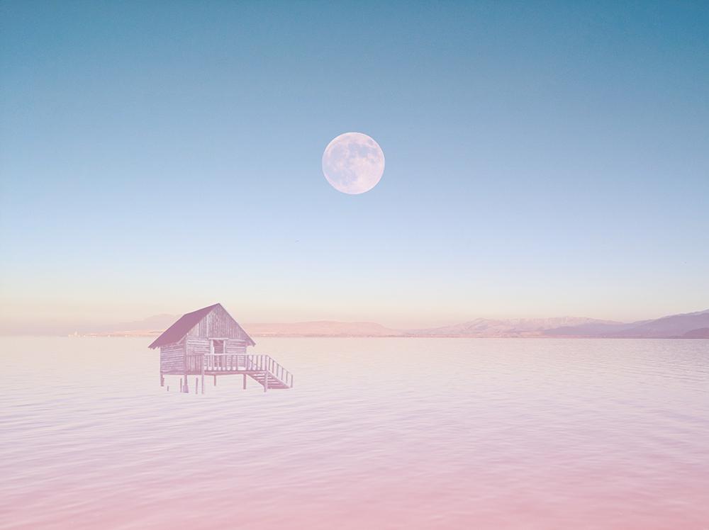 Sea Desert / 海沙漠 Illust of G-Noor fantasy sky scenery painting night pink moon sea original illustration