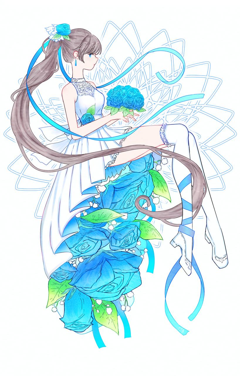 青い薔薇 Illust of nora April.2020Contest:Color rose girl medibangpaint blue sideface dress