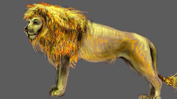 The lion on grey Illust of lokhnet September2020_Contest:Furry March2021_Creature drawing handdrawn painting oc medibangpaint art animal artist digital cute