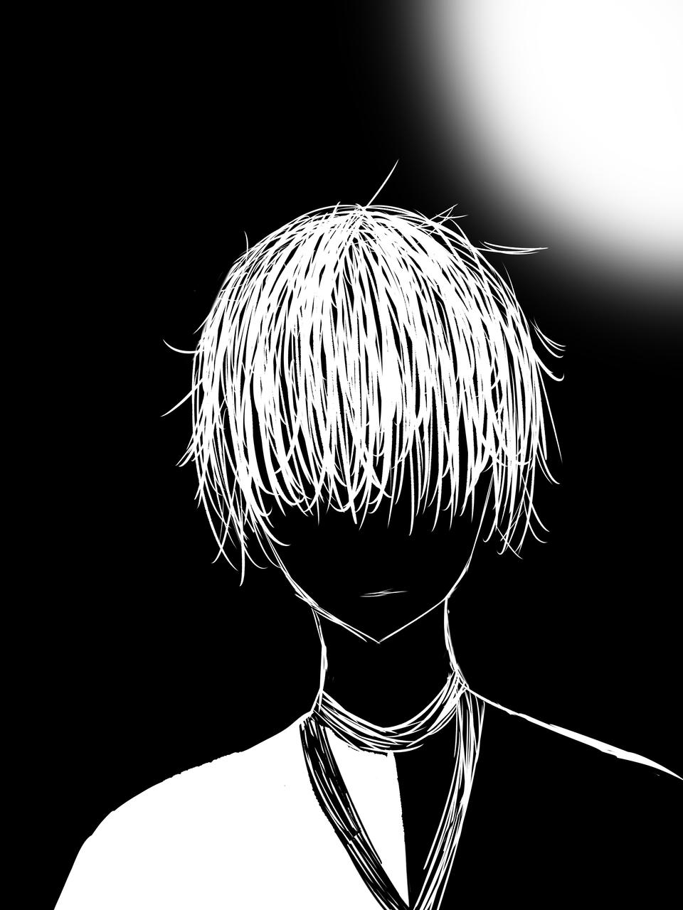 白、黒 Illust of しゃっくりみかん boy illustration らくがきオリジナル doodle black