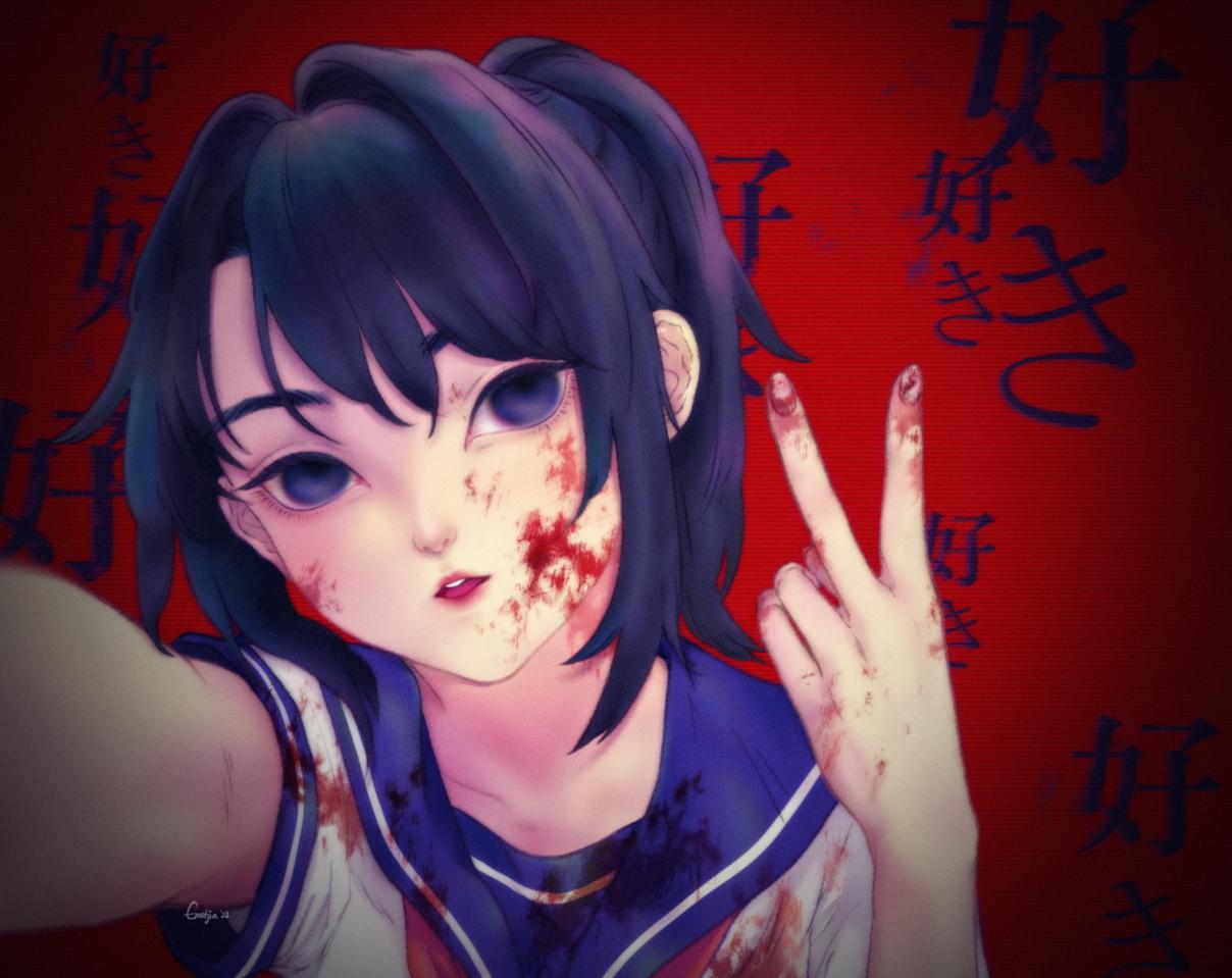 Sick & Love Illust of Gratjia YandereSimulatorFanArtContest gratjia fanart Yandere profile love CLIPSTUDIOPAINT girl yanderesimulator blood medibangpaint