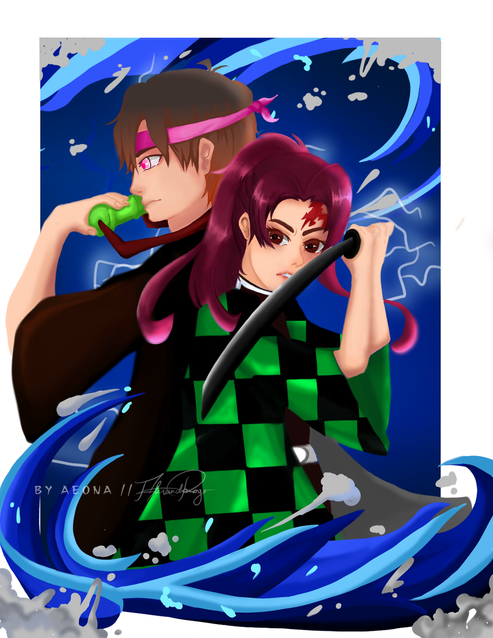 Gender swap: Tanjiro and Nezuko Illust of Aeona DemonSlayerFanartContest anime painting KamadoTanjirou KimetsunoYaiba medibangpaint fanart KamadoNezuko Genderbend