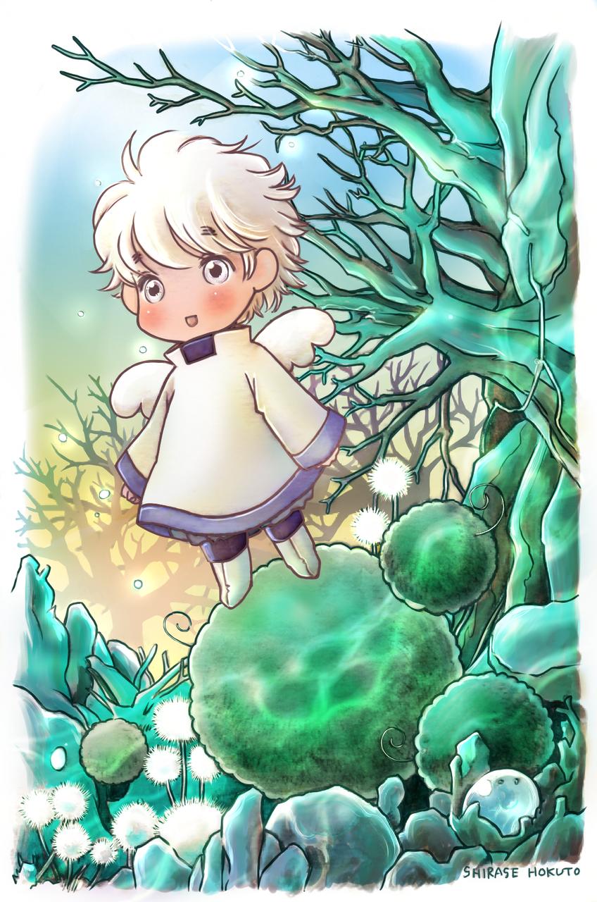 ぽわぽわ。 Illust of ちぃぶっく medibangpaint angel まりものようななにか 植物 羽根 sky white_hair water