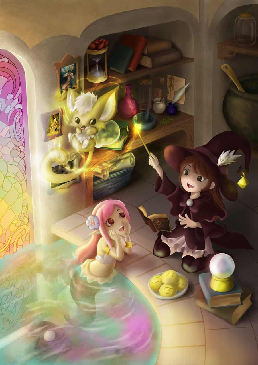 litter mermaid and witch Illust of 猫雨 February2021_Fantasy witch mermaid