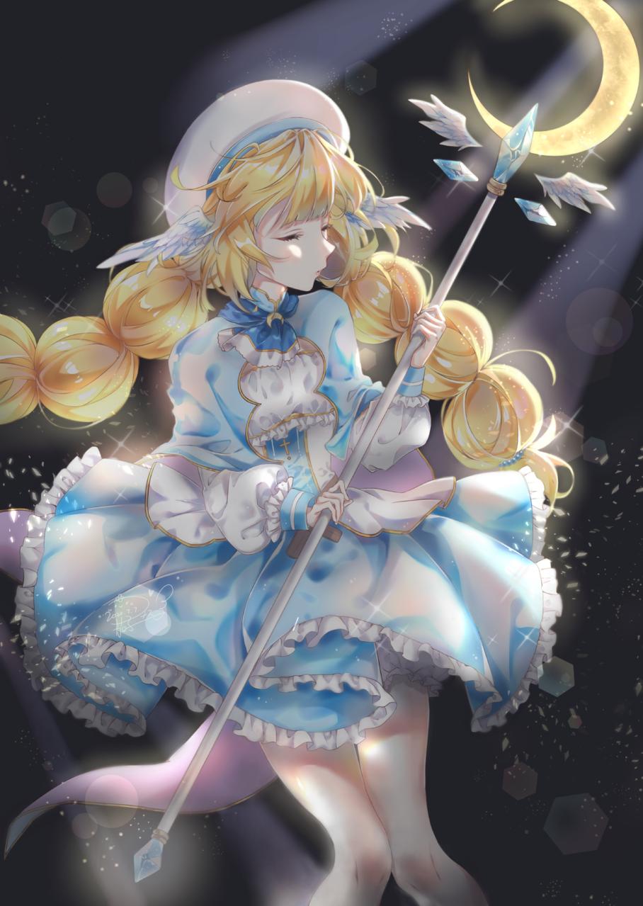 月と光の魔法 Illust of 茄子ナス moon オリキャライラスト angel originalcharacters 逆光 original 魔法 原創角色 originalart oc