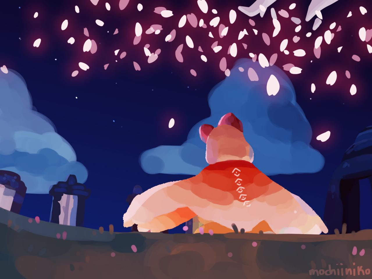 painting attempt Illust of MochiiNiko pink painting digital blue skychildrenoflight