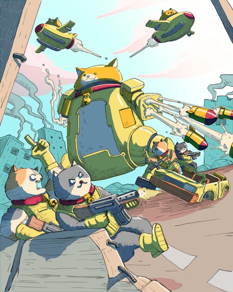 When cat want to rule the world Illust of Wutikai MySecretSocietyContest February2021_Fantasy March2021_Creature oc Mechanic Japanese_style scenery war robot cat plane Gun fight