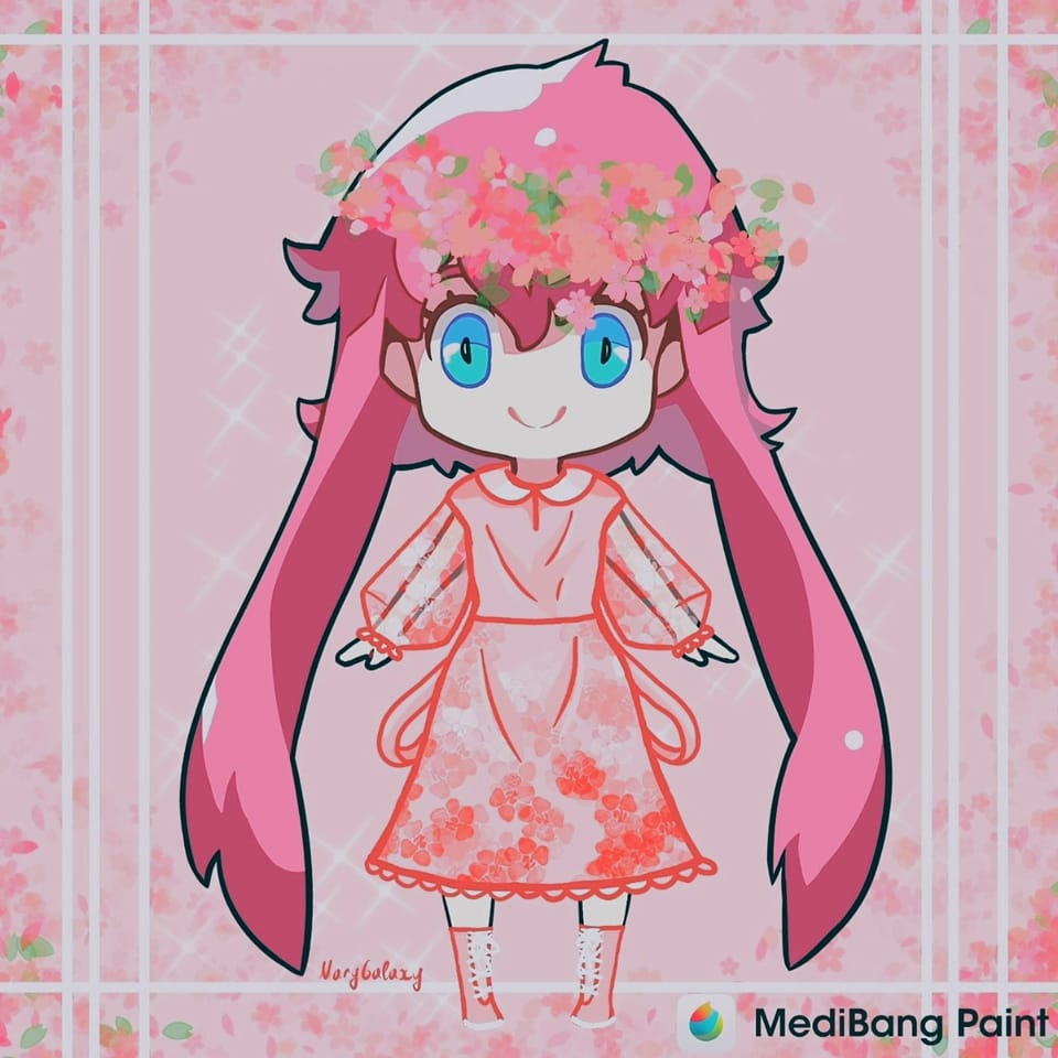 Medy-chan. Spring outfit🌸💕 Illust of MaryGalaxy cute dressupchallenage girl Dress-up_Challenge spring little chibi Medy-chan outfit flowers